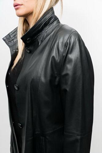 Veste cuir agneau waxy Revacuir Rosa noir.
