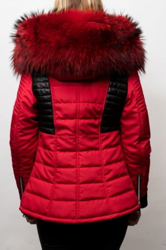 Doudoune Horspist Julia rouge/noir col rouge.