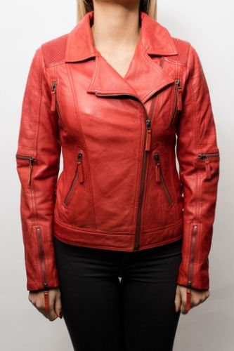 Blouson Perfecto cuir LPB Shana Rouge