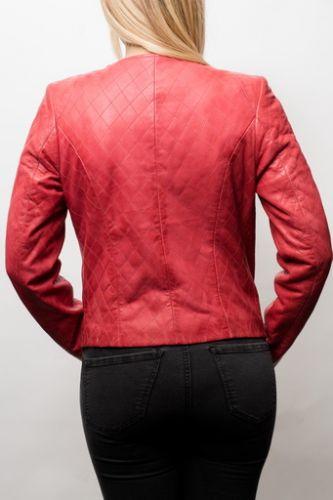 Blouson cuir rouge