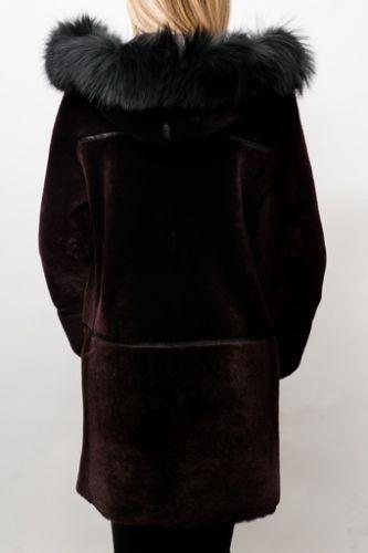 Veste peau lainée Giorgio Reve bordeaux