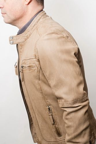 NOUVELLE COLLECTION Blouson cuir Oakwood Casey beige.