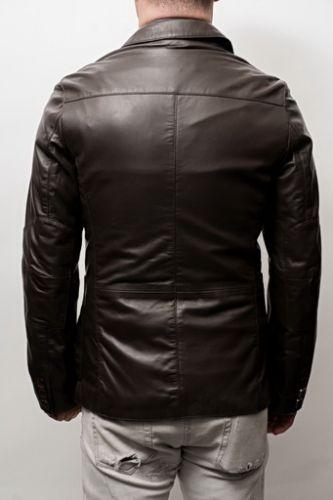 veste en cuir coupe blazer