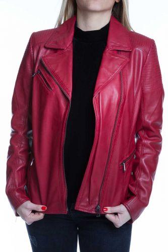 perfecto rouge en cuir