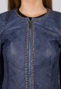 Blouson cuir LPB Femme bleu Mamamia.