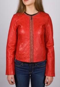 Blouson cuir LPB femme rouge Mamamia.