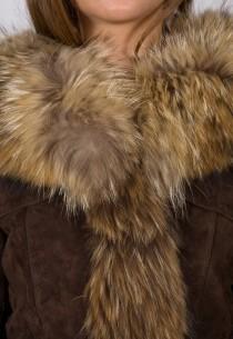 Manteau 3/4 en fourrure LPB femme marron 2Eugénie.