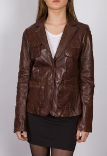 Blazer en cuir LPB femme marron 2160.