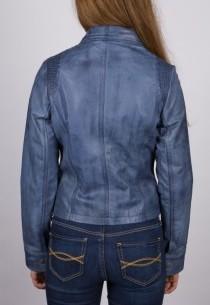 Perfecto en cuir LPB femme bleu Aspettaro.