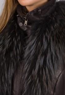 Doudoune en cuir Giorgio femme marron Keira .