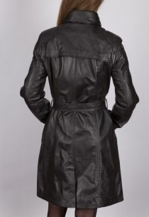 Manteau 3/4 en cuir LPB femme noir San Ambroggio.