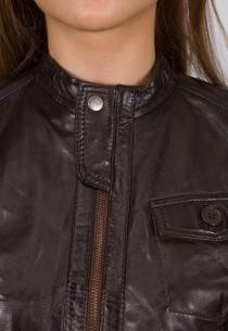 Blouson en cuir LBP femme Marron New Tailor .
