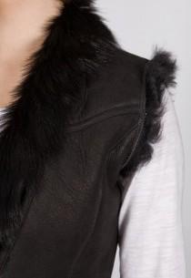 Gilet en peau LPB femme noir Rihanna.