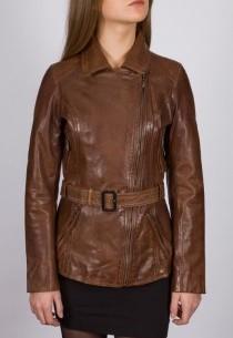 Veste en cuir Daytona femme marron Alizée100192.