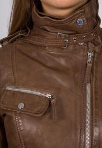 Manteau 3/4 en cuir Giorgio femme marron Katia02.