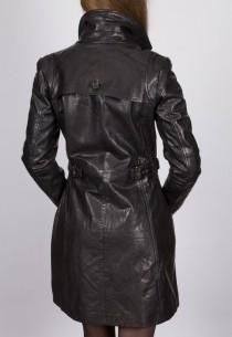 Veste longue en cuir Revacuir femme noir Laura100201.