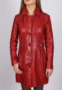 Veste longue en cuir Revacuir femme rouge Laura100201.