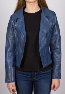 Blouson cuir LPB femme bleu Nina.