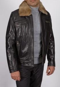 Blouson en cuir et fourrure Redskins homme noir Chaz.