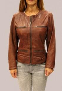 Blouson en cuir LPB femme marron Birdy