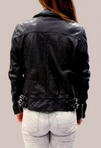 Blouson en cuir LPB femme noir Stormie