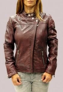 Blouson en cuir RedSkins femme rubis Zoé