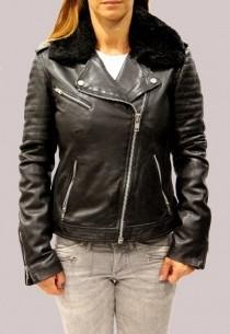 Blouson en cuir Redskins femme noir Kate
