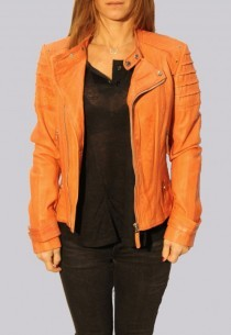 Blouson en cuir Giorgio femme orange Amber