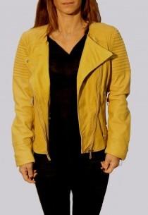 Blouson en cuir Giorgio femme jaune Katsia