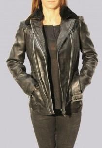Veste en cuir et fourrure Redskins femme noir Marlen Rivoli