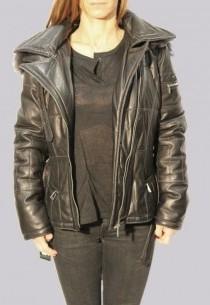 Manteau en cuir et fourrure Giorgio femme noir Mickaela