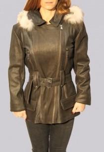 Veste en cuir et fourrure Revacuir femme marron Kenza