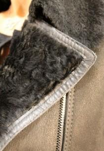 Veste en peau lainée femme noir Dona