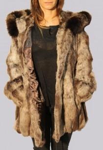 Manteau en fourrure LPB femme beige Zhqp126