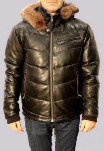 Doudoune en cuir et fourrure AVIREX homme noir Everest