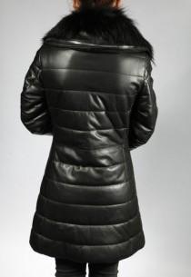 Veste en cuir femme GIORGIO AGA-noir-agneau, col amovible