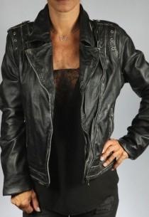 Veste en cuir femme FIJI noir-agneau