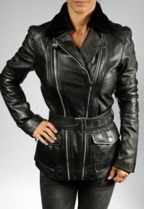 Veste en cuir femme LAURA BLACK-agneau