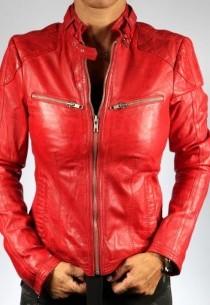 Blouson en cuir femme LPB SIAM rouge-agneau
