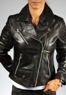 Blouson Perfecto en cuir femme REDSKINS-marthe-black-agneau