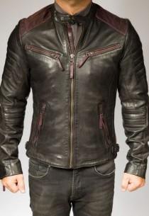 Blouson Cuir Homme Giorgio SMITH bi-colore bordeaux-noir