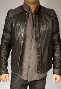 Blouson Giorgio Cuir Homme JOHN-WODY-noir-gris
