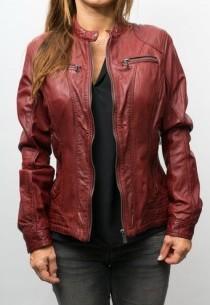 veste cuir agneau rouge pour femme