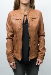 veste cuir cognac pour femme