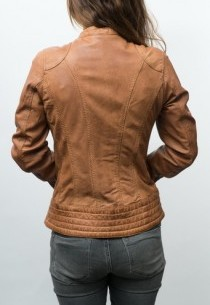veste ROSE garden en cuir couleur cognac