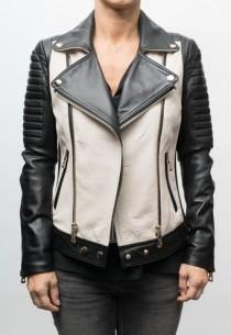 Blouson cuir Giovanni Antonia Black & White