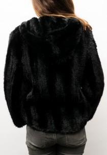Blouson vison tricoté Giorgio Kili noir
