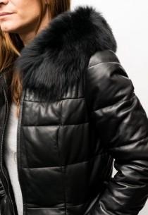 Veste Doudoune cuir Giovanni Maia Noir