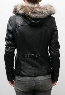 Blouson cuir agneau LPB LisaHood noir capuche amovible.