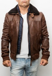 Blouson cuir style pilote Redskins Jorge Liverpool Cognac